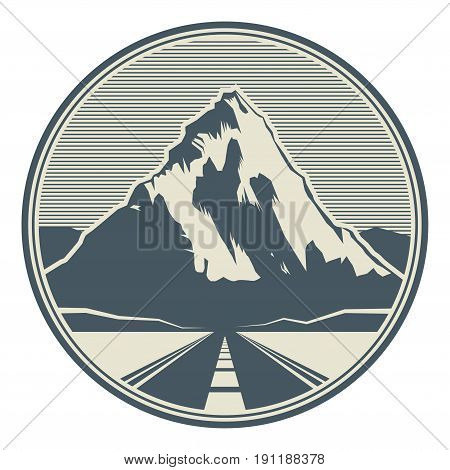 Mountains road landscape. Adventure outdoor expedition mountain mountain snowy peak mountain sign or icon vector illustration