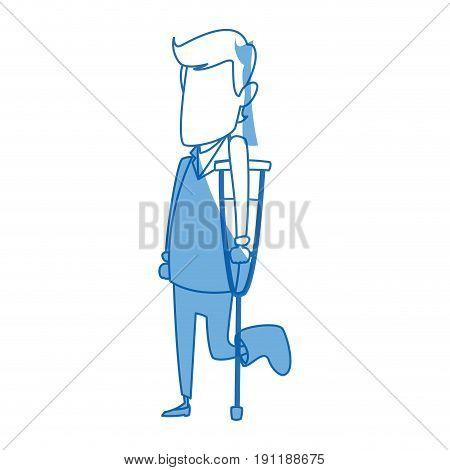 cartoon man with bandaged foot walking on crutches vector illustration