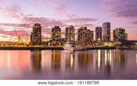 The docklands waterfront of Melbourne in the evening, Australia.