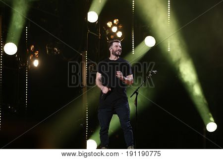 NASHVILLE, TN-JUN 9: Country singer Sam Hunt performs in concert during the 2017 CMA Music Festival on June 9, 2017 at Nissan Stadium in Nashville, Tennessee.