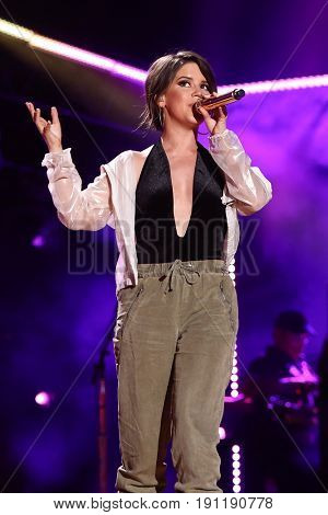 NASHVILLE, TN-JUN 9: Country singer Maren Morris performs in concert during the 2017 CMA Music Festival on June 9, 2017 at Nissan Stadium in Nashville, Tennessee.