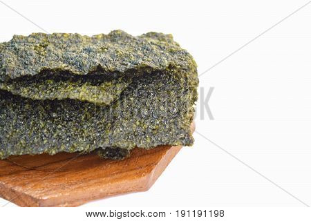 Crispy seaweed as a snack or dessert isolated on white background