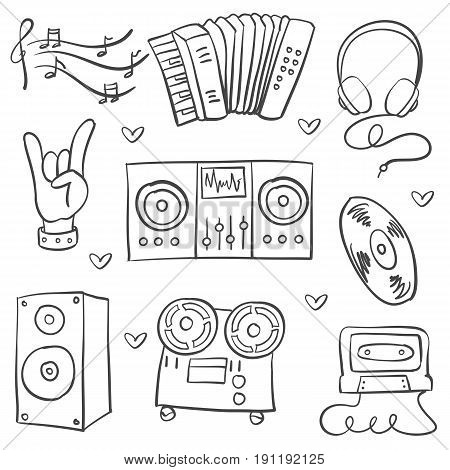 Collection stock music theme doodles vector illustration