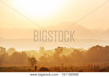 Majestic sunrise in the rural landscape. Luzon island in Philippines.