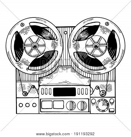 Tape recorder vector illustration. Scratch board style imitation. Hand drawn image.