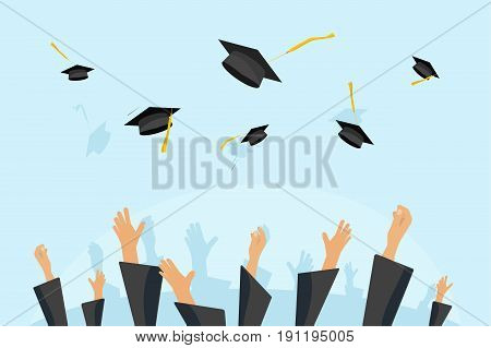 Graduating students or pupil hands in gown throwing graduation caps in the air, flying academic hats, throw mortar boards in the sky flat cartoon vector illustration clipart
