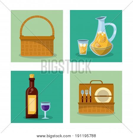 white background with frames of picnic elements with picnic basket and wine bottle and cutlery set and juice jar vector illustration