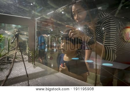 Pathum Thani Thailand - June 11 2017 Little girl and mother at National Science Museum