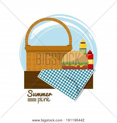 colorful logo summer picnic with picnic basket on table over tablecloth with burger and sauces vector illustration