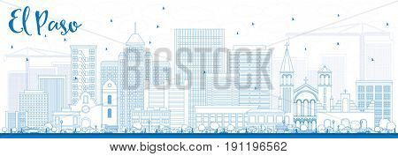 Outline El Paso Skyline with Blue Buildings. Business Travel and Tourism Concept with Modern Architecture. Image for Presentation Banner Placard and Web Site.