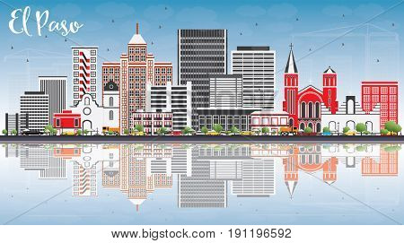 El Paso Skyline with Gray Buildings, Blue Sky and Reflections. Business Travel and Tourism Concept with Modern Architecture. Image for Presentation Banner Placard and Web Site.