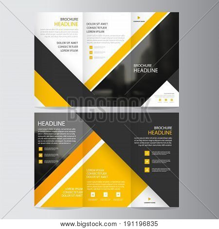 Yellow triangle business trifold Leaflet Brochure Flyer report template vector minimal flat design set, abstract presentation layout templates a4 size poster