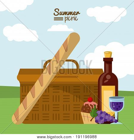 colorful poster of summer picnic with outdoor landscape with picnic basket and french bread and dessert and wine bottle vector illustration