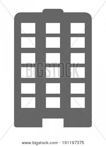 High rise office tower block web icon on a white background,