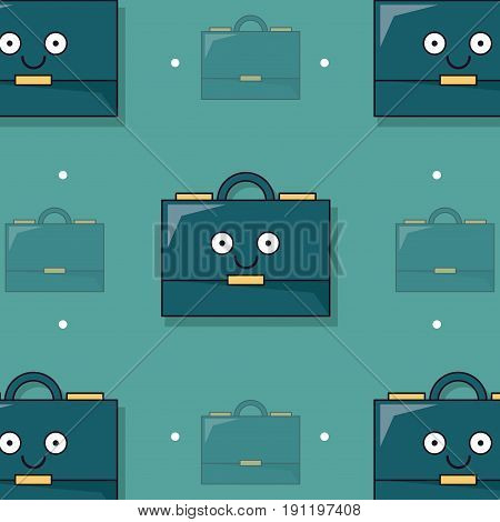 colorful background with pattern of animated executive briefcase vector illustration