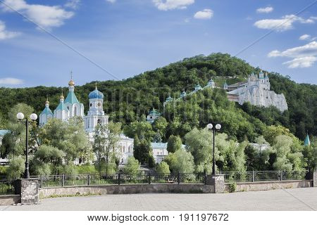 Churches of Sviatohirsk Lavra. Sunny day in May. On the waterfront