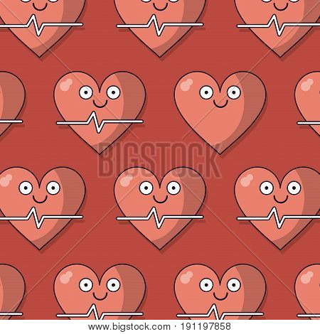 colorful background with pattern of heart and pulse signal animated vector illustration