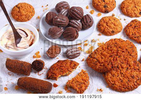 Chocolate Chip Oatmeal Cookies And Yogurt