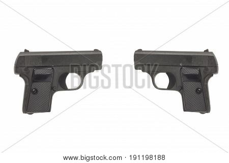 2 Gun isolated on white background Concept