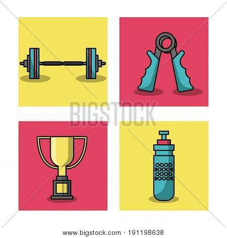 white background with colorful set of frames of weightlifting elements vector illustration