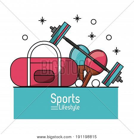 colorful poster of sports lifestyle with briefcase and dumbbell and ping pong rackets vector illustration