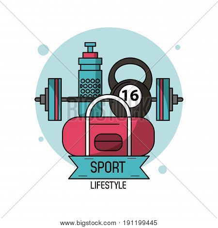 colorful poster of sport lifestyle of weightlifting vector illustration