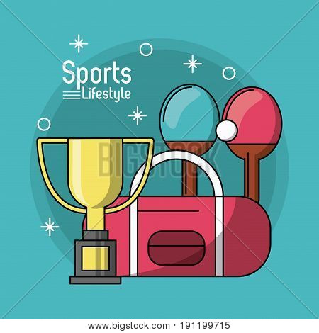 colorful poster of sports lifestyle with trophy of ping pong vector illustration