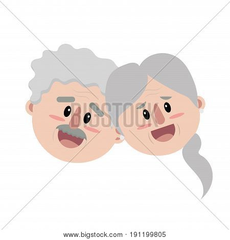 old couple face with hairstyle vector illustration