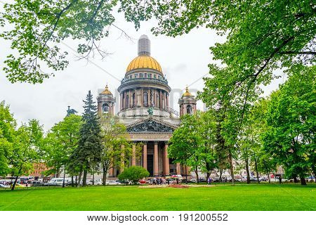 St. Isaac's Cathedral in sunny day in Saint-Petersburg, Russia.