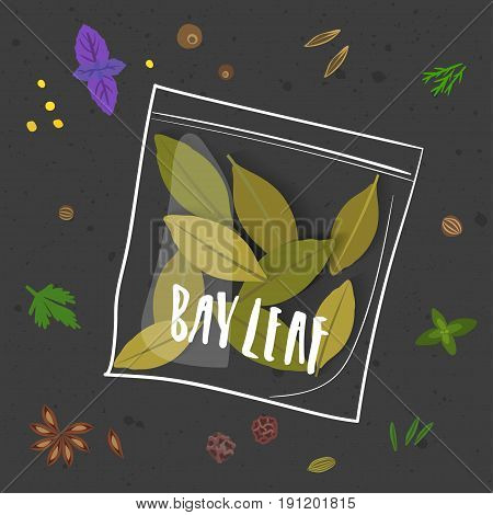Vector illustration of bay leaf. Realistic laurel leaves in a stylized hand-drawn white package with lettering on black background with other seasonings.