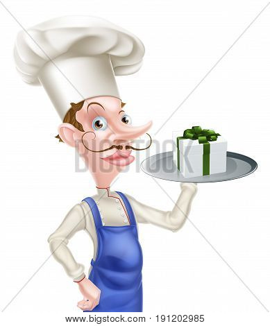 An illustration of a cartoon chef holding a tray with a gift or present on it