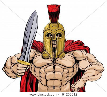 An illustration of a gladiator, ancient Greek, Trojan or Roman warrior or gladiator wearing a helmet and holding a sword