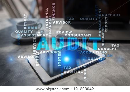Audit business concept. Auditor Compliance. Virtual screen technology. Words cloud