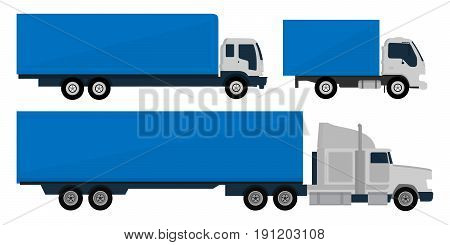 Set of trucks and trailers isolated white background. Trucks and semi-trucks. Vector illustration.