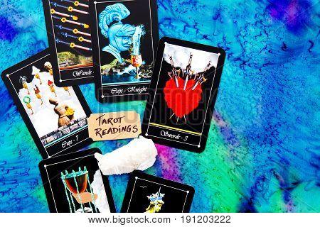 Tarot Deck - Tarot Readings On Multi Colored Silk Reading Cloth