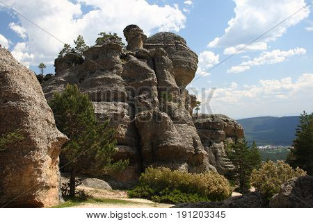 Karstic labyrinth of eroded stones similar to the Enchanted City of Cuenca, in Castroviejo, soria, Spain