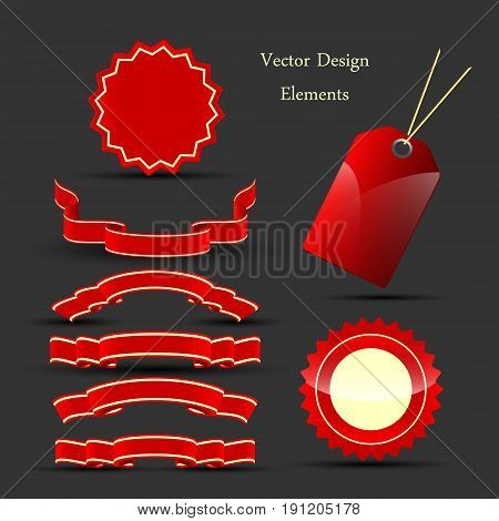 holiday vector ribbons set. Bright elements for design. Eps10