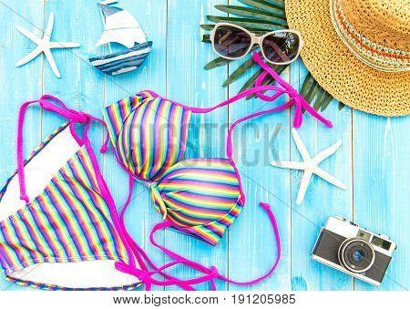 Summer Fashion woman swimsuit Bikini. Tropical sea.Unusual top view.Vacation concept