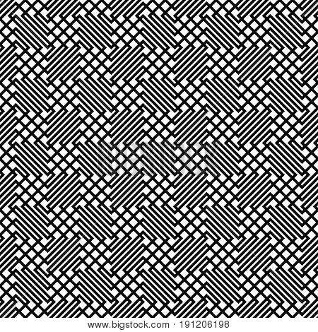 Seamless monochrome zig zag line grid pattern background