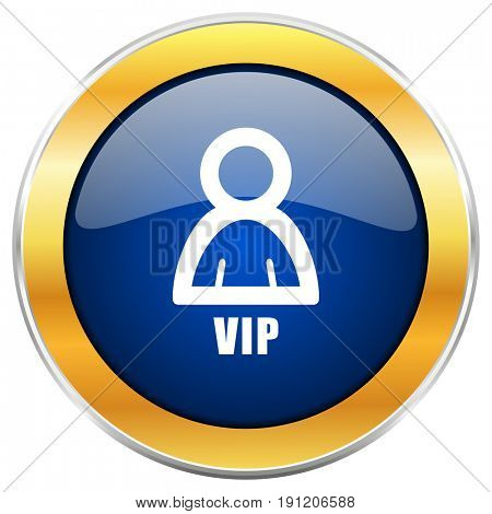 Vip blue web icon with golden chrome metallic border isolated on white background for web and mobile apps designers.