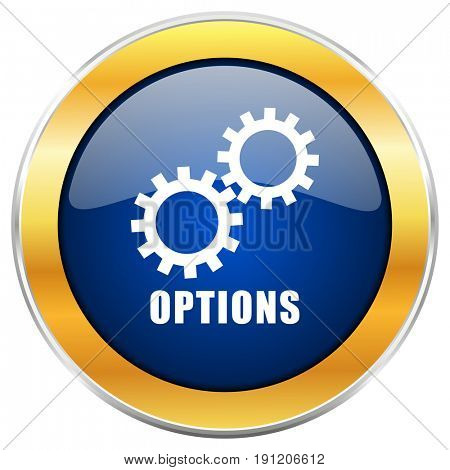 Options blue web icon with golden chrome metallic border isolated on white background for web and mobile apps designers.