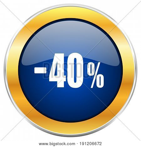 40 percent sale retail blue web icon with golden chrome metallic border isolated on white background for web and mobile apps designers.