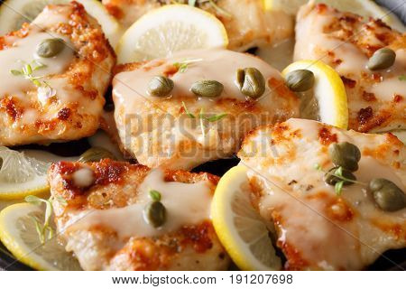 Delicious Background: Fillet Chicken Piccata With Lemon, Thyme And Capers Macro