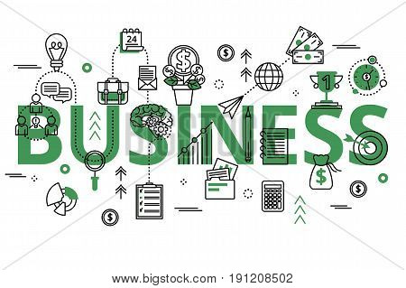 Vector illustration with big green word business process and finance success. Business concept in modern flat line design for web banners and graphic design.