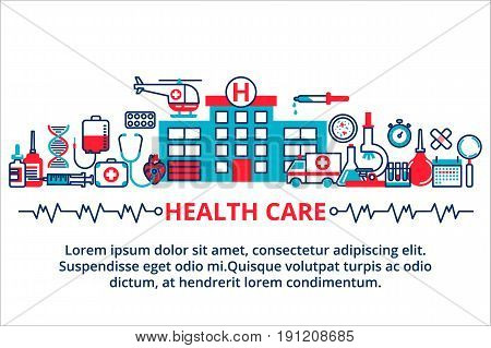 Modern vector illustration for web design marketing and print material. Flat line design website banner of healthcare clinic and hospital facilities.