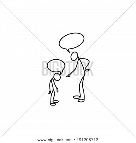Stick figure Father scolding his son vector