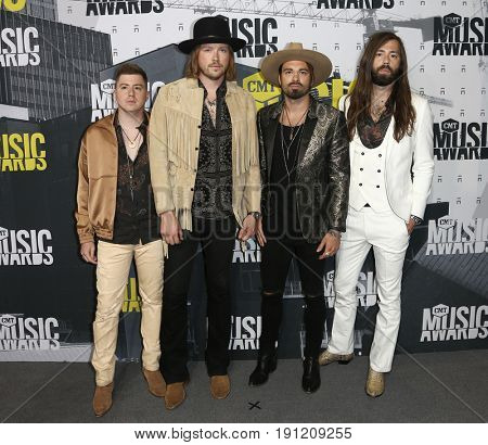 NASHVILLE, TN-JUN 07: (L-R) Bill Satcher, Michael Hobby, Zach Brown and Graham DeLoach of A Thousand Horses attend 2017 CMT Music Awards at Music City Center on June 7, 2017 in Nashville, Tennessee.