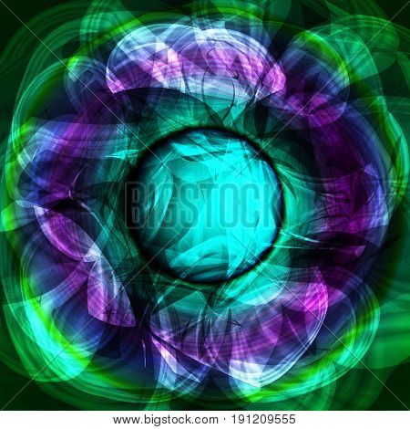 Twirl luminous light green purple abstract background. Vector background.