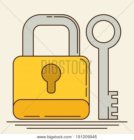closed lock with key. Flat vector icon