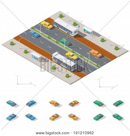 Bus stop and two way road architecture isometric icon set vector graphic illustration design